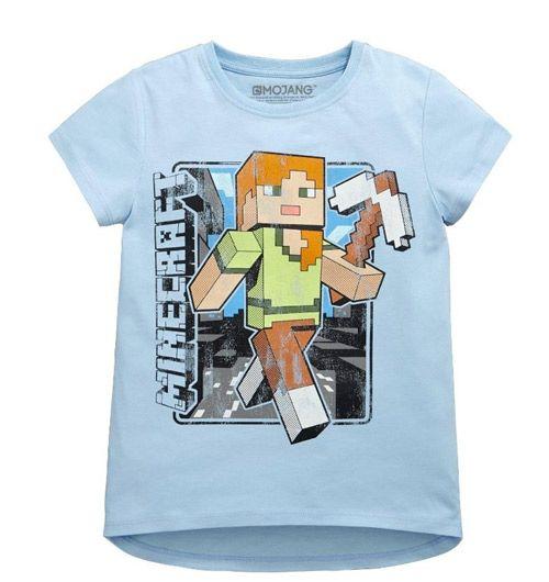 3c788972c04 Tričko Dětské   Dívčí Minecraft Modré 9-10 Let