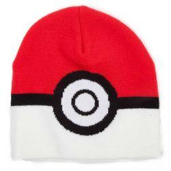 Čepice Úpletová Zimní Pokémon Poké Ball Bílo-Červená