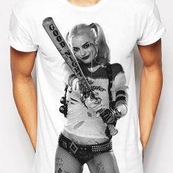 Tričko Pánské Suicide Squad / Sebevražedný Oddíl Harley Photo Bílé M