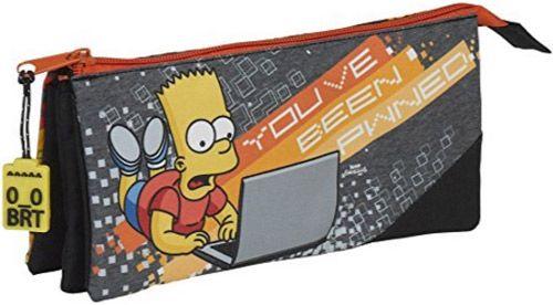 Penál Na Tužky Simpsnovi / The Simpsons Bart Šedý Trojitý 22 Cm