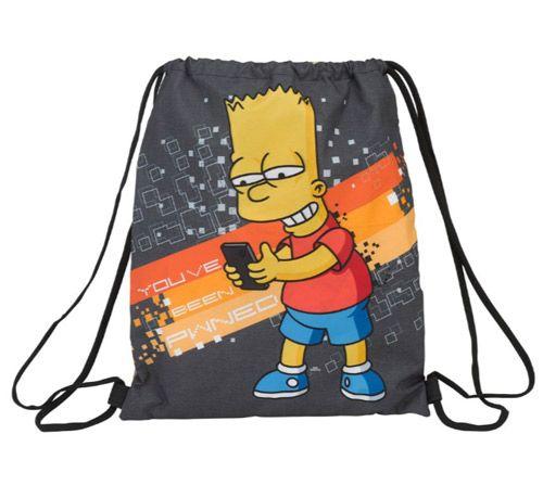 Pytlík Gym Bag Simpsnovi / The Simpsons Bart Šedý 35 X 40 Cm