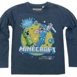 6261f172eb66 Tričko Dětské S Rukávem Minecraft Diamond Šedé 9   10 Let