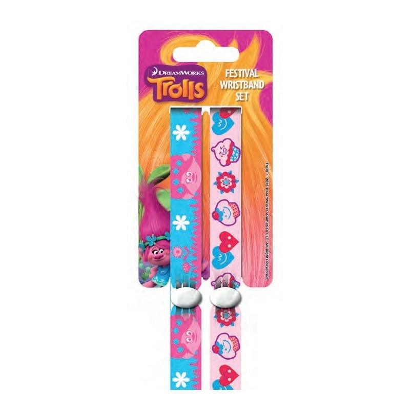 Látkové náramky na ruku Trollové Modro/růžové 2ks