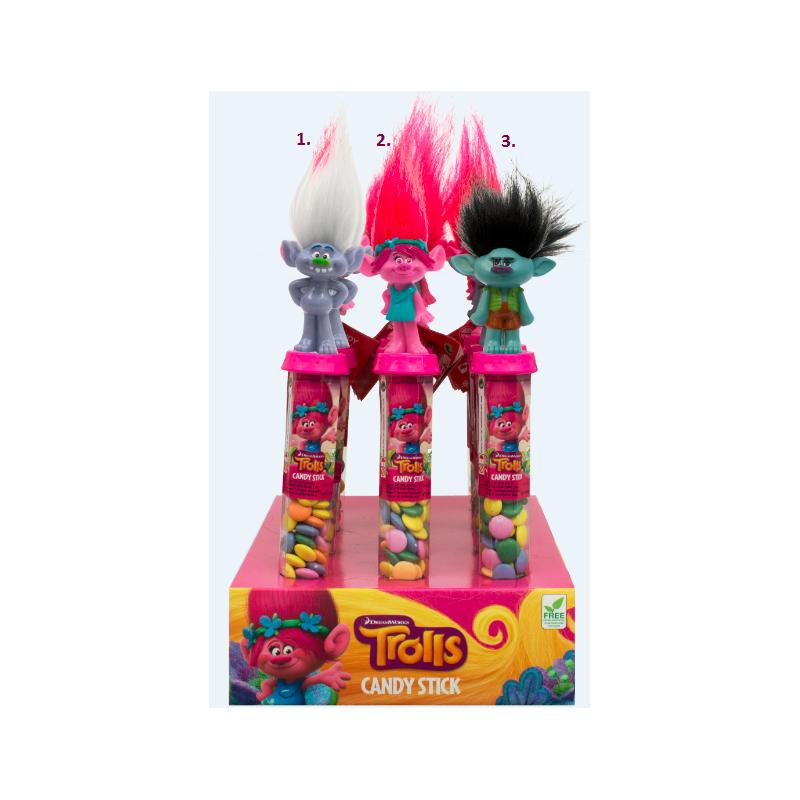 Tuba plná čokoládových bonbónku s postavičkou Trollové