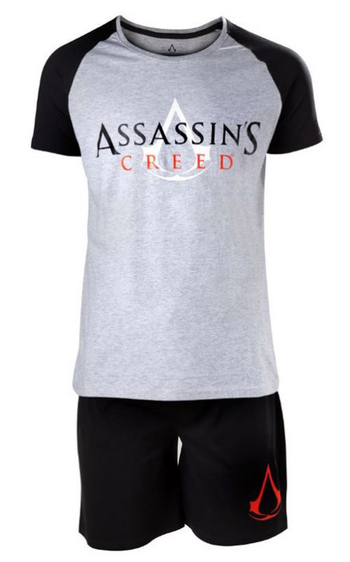 324d3466856 Pyžamo Pánské Assassins Creed Logo Black And White L