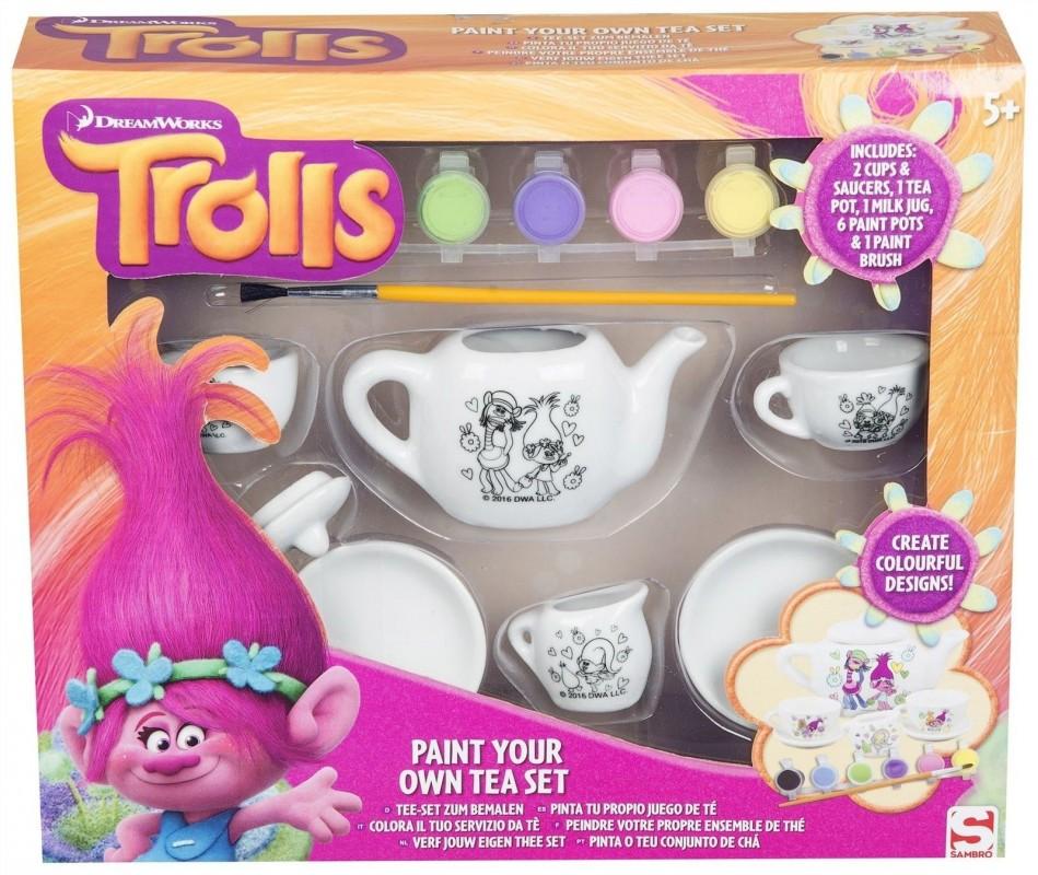 Čajová sada nádobí k vybarvení Trollové