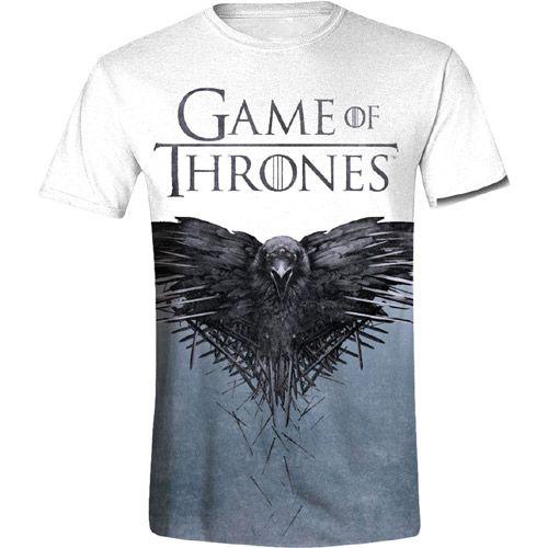 Tričko Pánské Hra O Trůny / Game Of Thrones Raven Bilé L