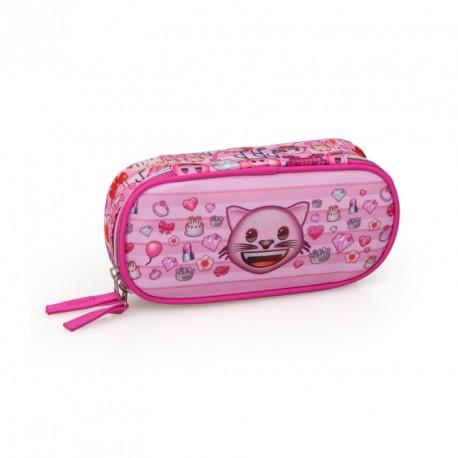 Dívčí penál / pouzdro růžové Emoji / Smajlíci