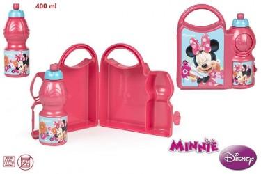 Svačinový set krabička a láhev na pití 400 ml růžová Minnie Mouse
