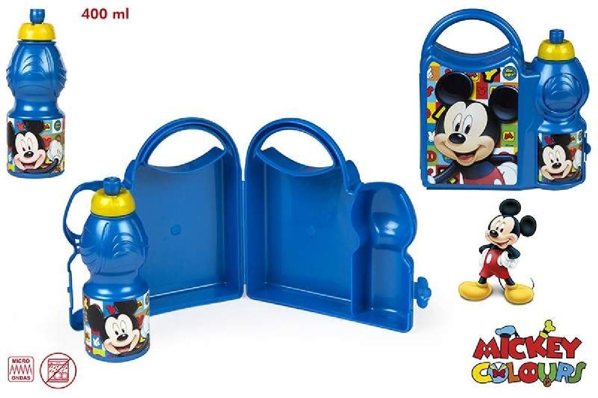 Svačinový Set Krabička A Láhev Na Pití 400 Ml Modrá Mickey Mouse