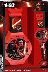 Nástěnné hodiny černo / červené s motivem Star Wars